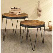 A Line Furniture Kasreal Round Honey Cherry 2-piece Nesting Table Set