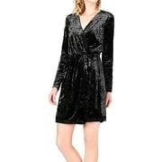 Bar III | Crushed Velvet Wrap Dress | Black