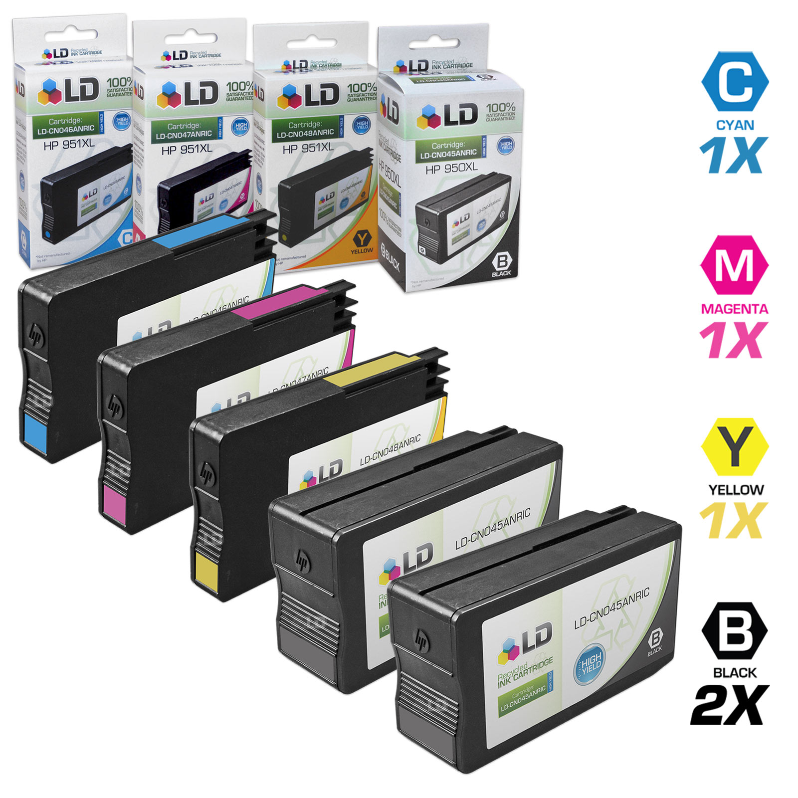 Remanufactured Replacement for HP 950 & 951 Set of 5 Cartridges Includes: 2 Black CN049AN, 1 Cyan CN049AN, 1 Magenta CN051AN, and 1 Yellow CN052AN