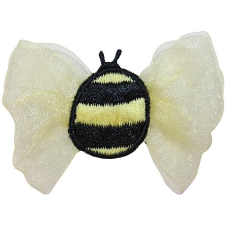 ID 0414 Bumble Bee Lace Wings Patch Flying Bug Embroidered Iron On Applique (Bee Wings)