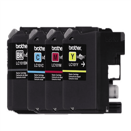 Genuine Brother LC101 (LC-101) Color (Bk/C/M/Y) Ink Cartridge 4-Pack (Includes 1 each LC101BK, LC101C, LC101M, LC101Y) for Brother MFCJ470DW MFCJ475DW MFCJ650DW MFCJ870DW MFCJ875DW (Brother Printer Lc101)