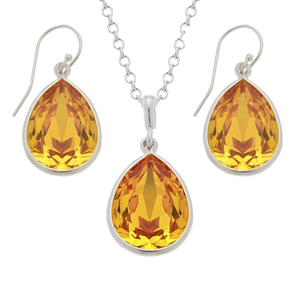 Collection Yellow 925 Silver Jewelry Set Created with Swarovski® Crystals