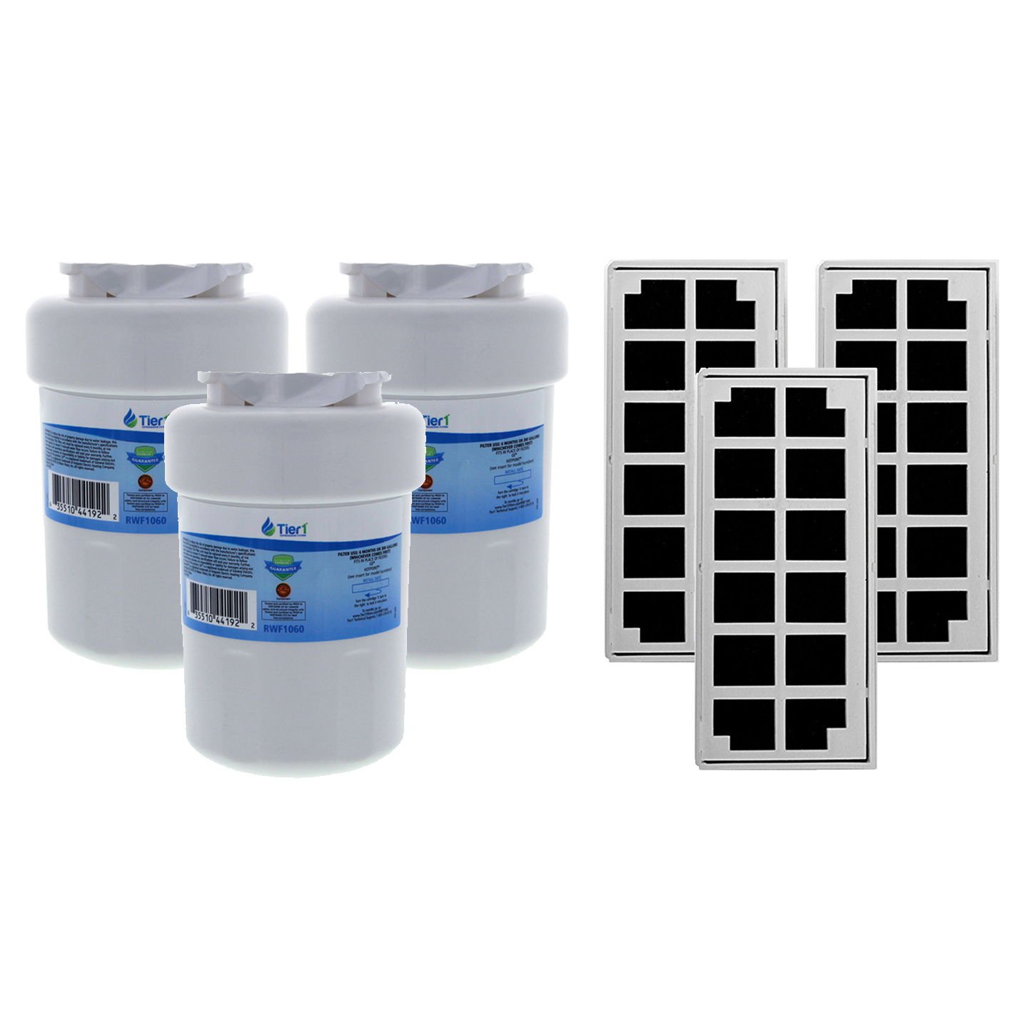 Tier1 Replacement for GE MWF SmartWater, MWFP, MWFA, GWF, GWFA, HWF, 46-9991, 469991, 469905, 469996 Water and Odor Filter Combo 3 Pack