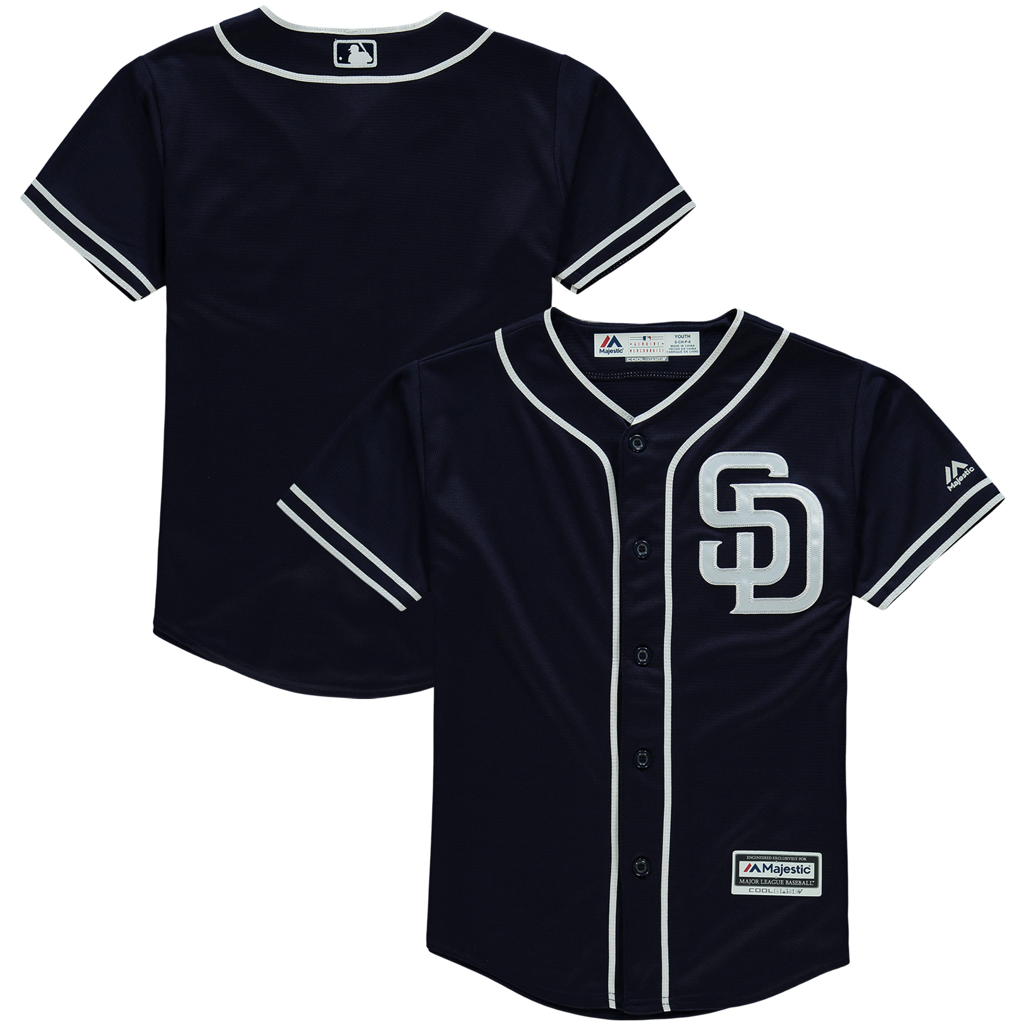 San Diego Padres Majestic Youth Offical Cool Base Jersey - Navy