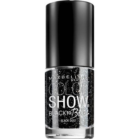 Maybelline New York Color Show Black to Black Nail Color, Patent Black, 7 mL, Black Dust