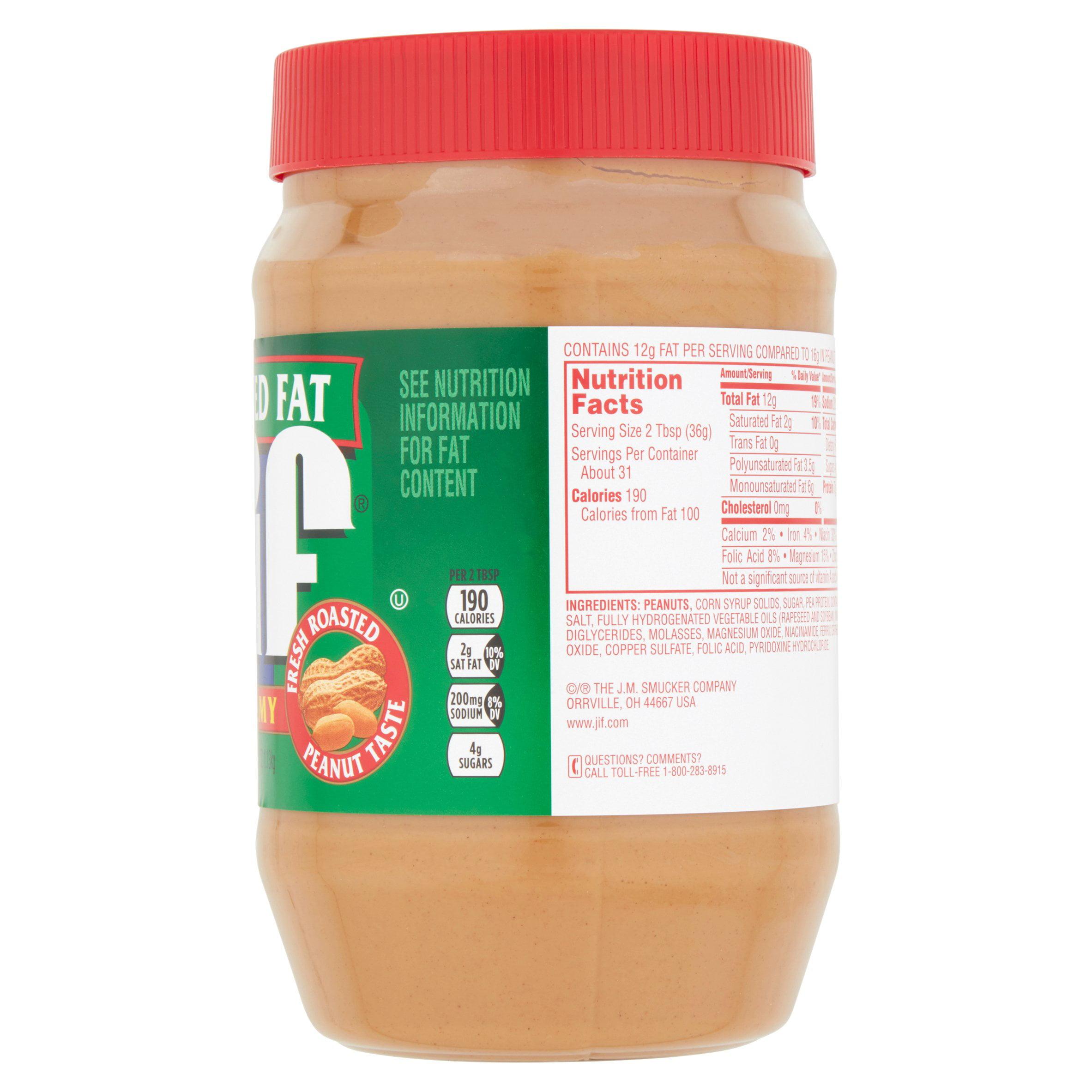 jif reduced fat creamy peanut butter, 40 oz - walmart
