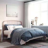 Your Zone Modern Metal Bed, Bed for Kids, Rose Gold, Full Size Frame