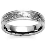 Oliveti Titanium Men's Engraved Floral Design Ring (6 mm) Size 13