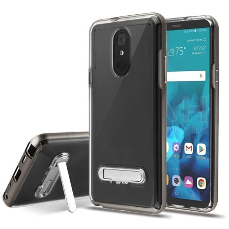 LG Stylo 4/Stylo 4 Plus Case, by Insten Stand PC/TPU Rubber Case Cover For  LG Stylo 4/Stylo 4 Plus - Clear/Gray