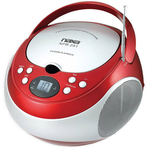 Naxa Portable CD Player with AM/FM Radio, Red, NPB251
