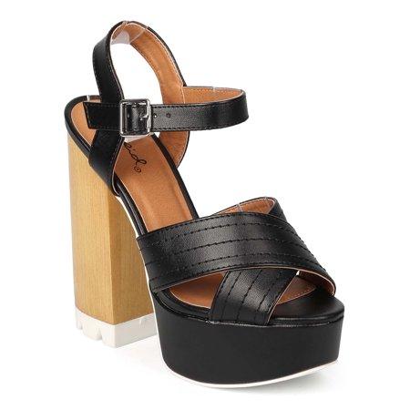 88ec43a907f Qupid EK52 Women Leatherette Peep Toe Criss Cross Block Heel Platform Sandal