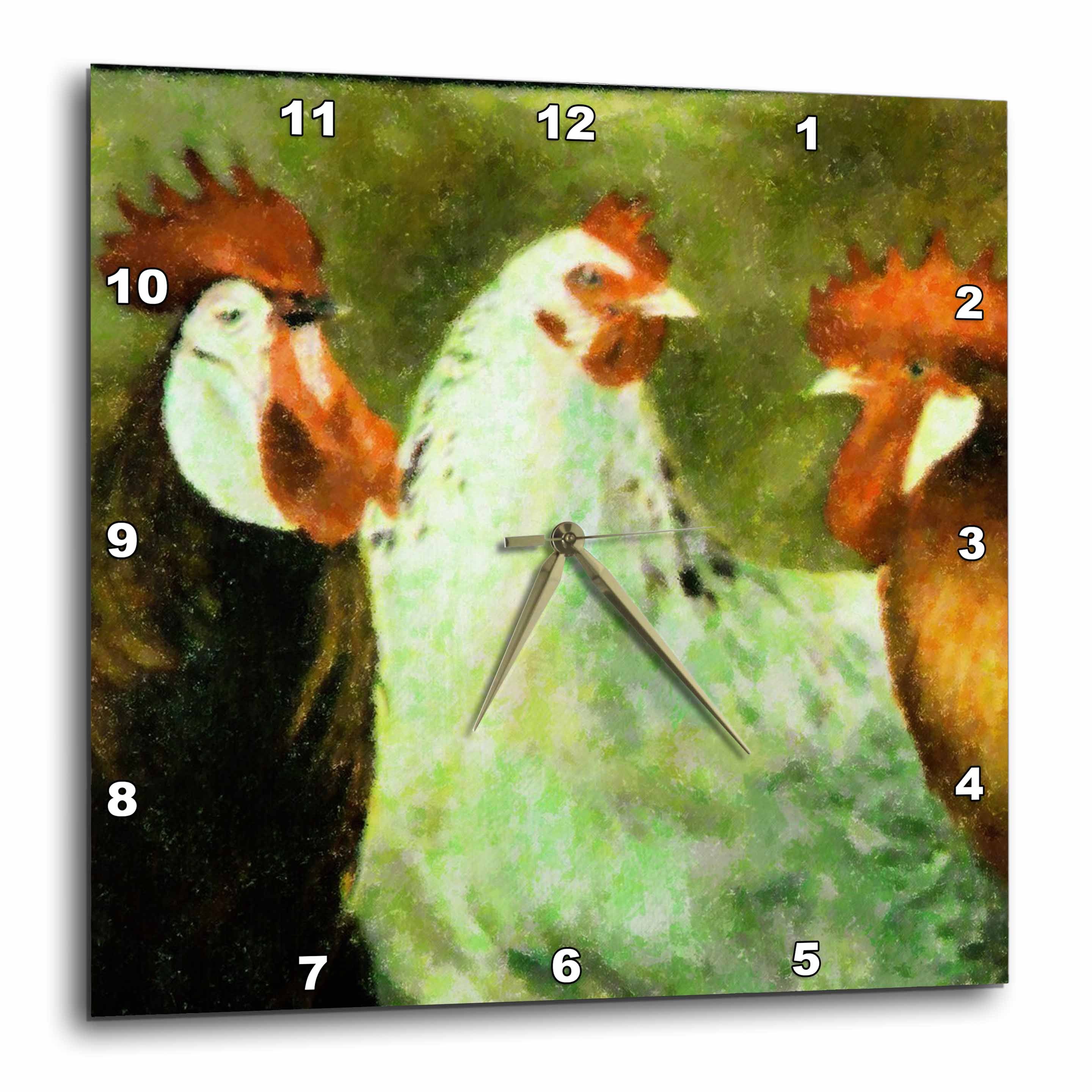 3dRose Just Us Roosters, Wall Clock, 10 by 10-inch