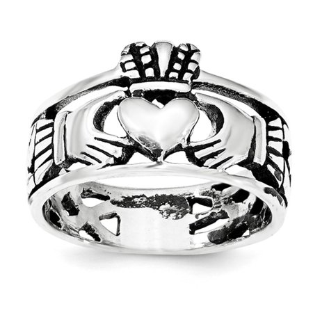 925 Sterling Silver Rhodium-plated Polished & Antique Claddagh Ring Band Size 8