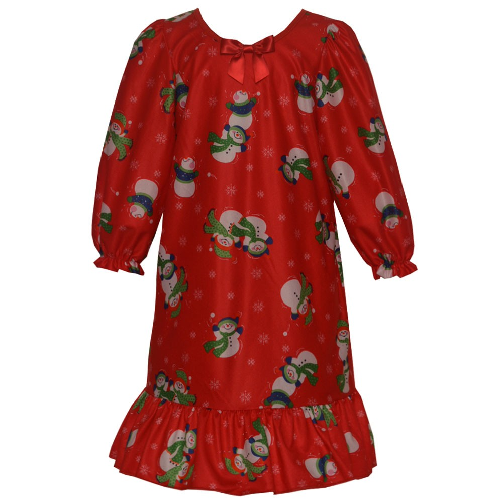 New ICM Laura Dare Girls Red Snowman Print Bow Long Sleev...