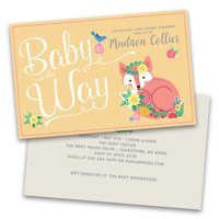 Personalized Baby on The Way Floral Fox Personalized Baby Shower Invitations