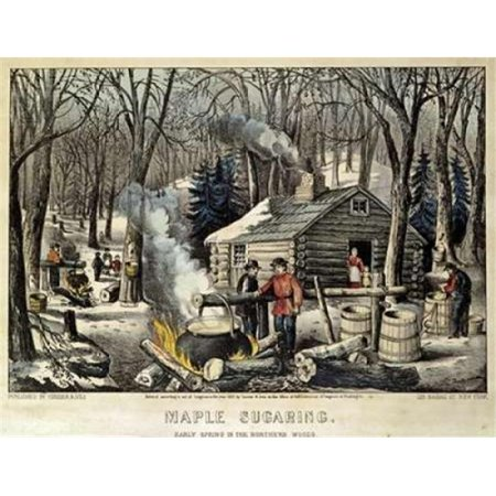 Maple Sugaring - Early Spring in The Northern Woods Poster Print by Currier & Ives, 22 x 28 - Large