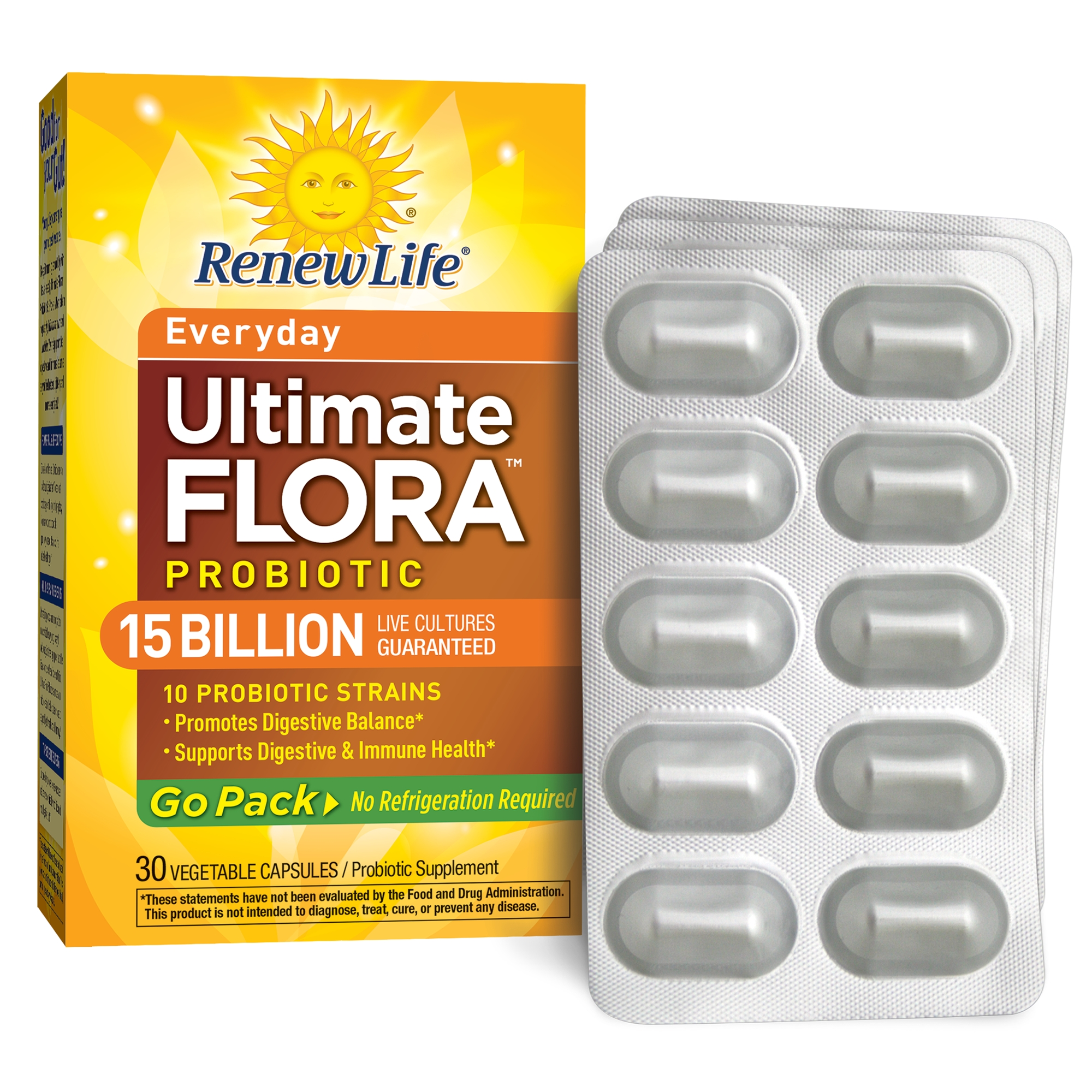 Renew Life - Ultimate Flora Probiotic Everyday - 15 billion - 30 vegetable capsules - Go Pack