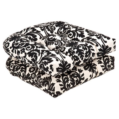 Pillow Perfect Outdoor/ Indoor Polka Dot Black Wicker Seat Cushion (Set of 2)
