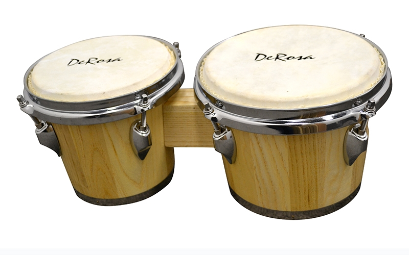 Deluxe Chrome Plated 7 and 8 Inch Bongo Drums Tunable Lap Bongos Natural by