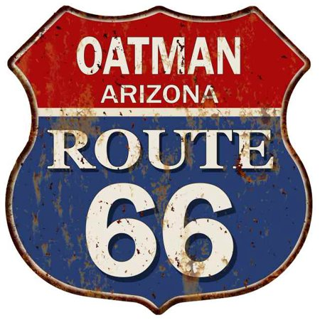 Wall Route 66 Metal Sign (OATMAN, ARIZONA Route 66 Shield Metal Sign Man Cave Garage 211110013028 )