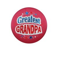 "Pack of 6 Red ""Greatest Grandpa"" Decorative Satin Buttons 2"""