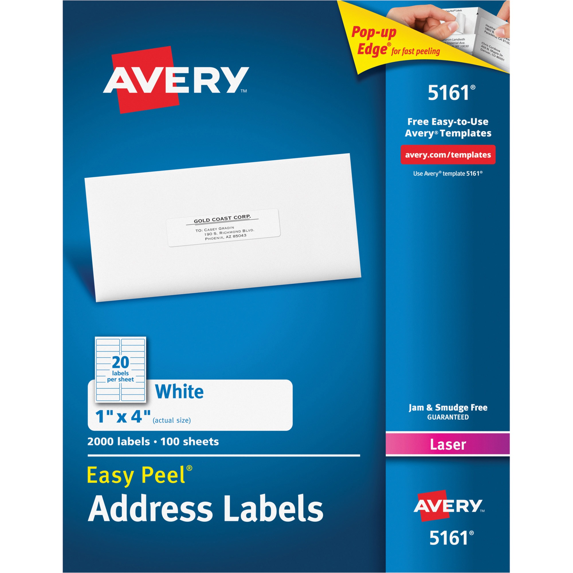 Avery Easy Peel Address Labels for Laser Printers, 1 x 4 in., White, 2000 Count (5161)