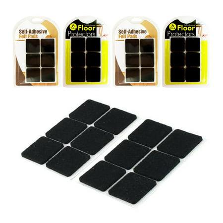 24x Self Adhesive Felt Pads Furniture Floor Scratch Protector Black Square 1.25