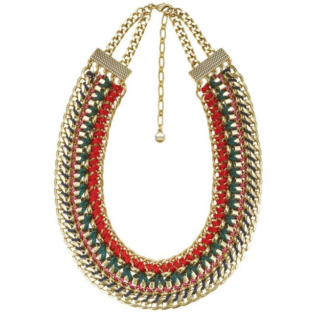 Eshopo 0900000033889 Gold-Tone Metal Chain And Color Thread Bib Necklace
