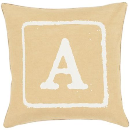 "20"" Gold and Beige ""A"" Big Kid Blocks Decorative Throw Pillo"