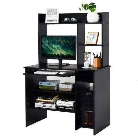 Best Keyboard Workstation For The Money : gymax computer desk pc laptop study table bookcase workstation shelves keyboard tray walmart ~ Vivirlamusica.com Haus und Dekorationen