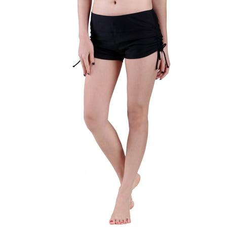 fb0ac65ec5f HDE Women Swim Brief with Ties, Mini Boy Short Bikini Bottoms Swimsuit  Separates (Black ...