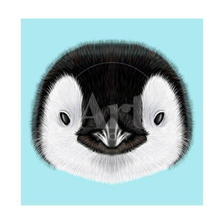 Illustrated Portrait of Emperor Penguin Chick. Cute Fluffy Face of Bird Baby on Blue Background. Print Wall Art By -