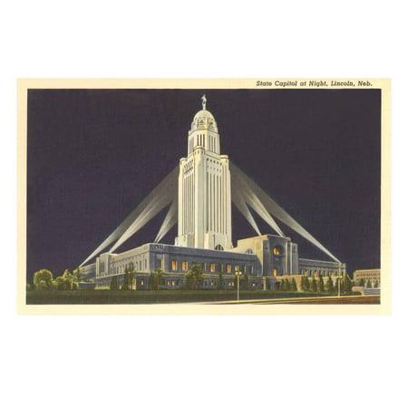 Lincoln State Capitol (Night, State Capitol, Lincoln, Nebraska Print Wall)