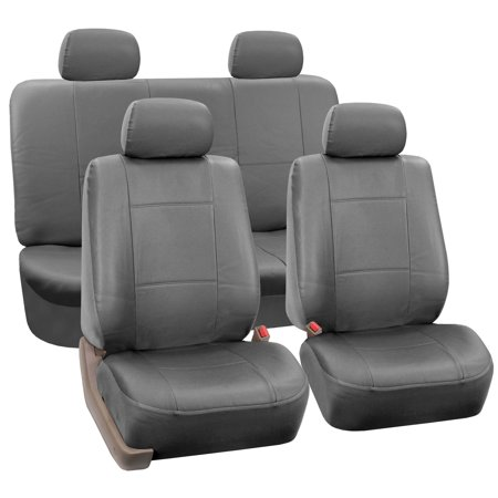 FH Group Faux Leather Airbag Compatible and Split Bench Car Seat Covers, Full Set, Gray