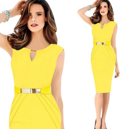 7bee1409751 FRESHLOOK - Sexy Women Business Party Cocktail Evening Pencil Dress Bodycon  Tights Office Dress - Walmart.com