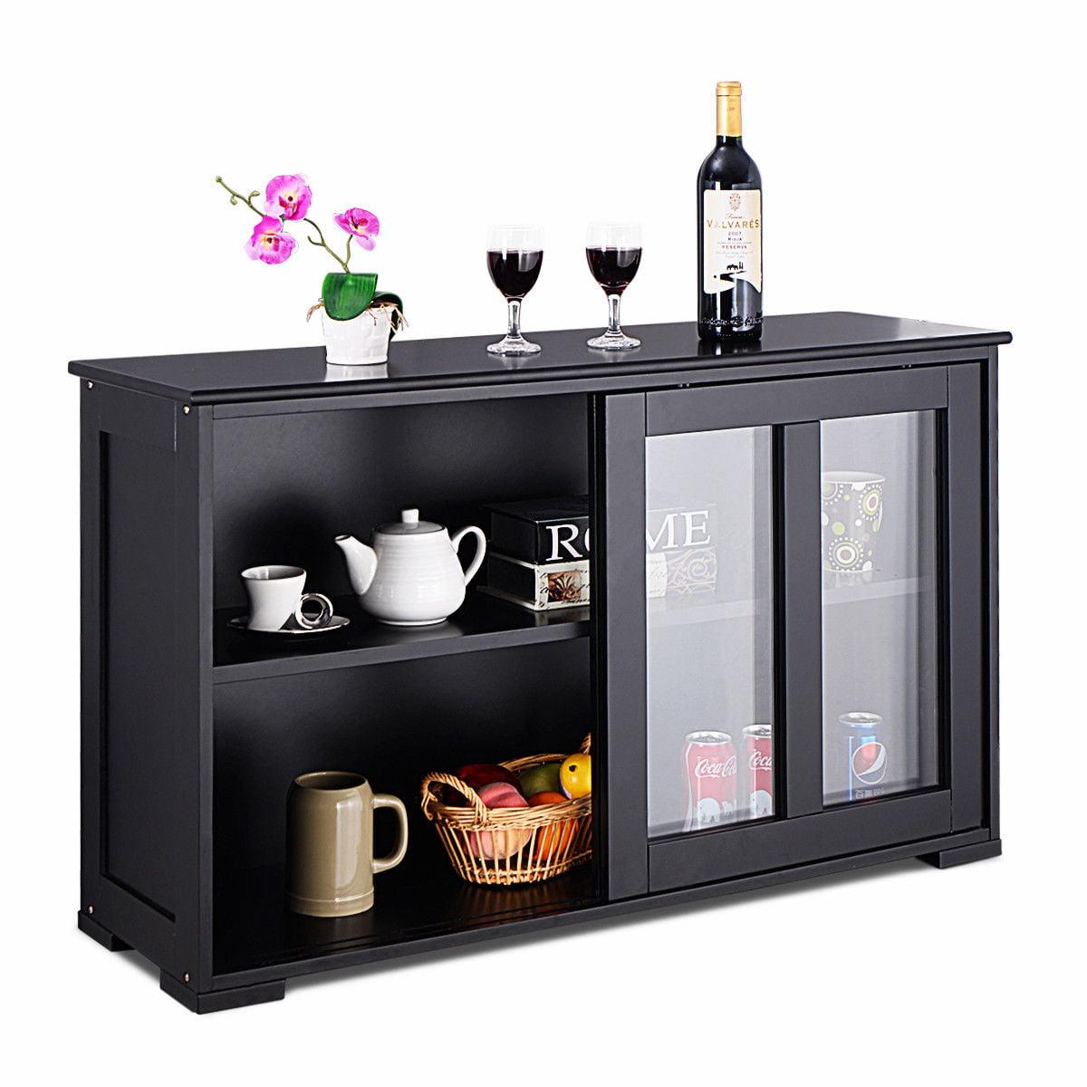 Costway Storage Cabinet Sideboard Buffet Cupboard Gl Sliding Door Pantry Kitchen