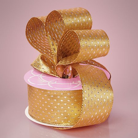 Gold Dot Wire - Gold Sparkling 1-1/2 inches x 25 yards Metallic Polka Dot Wired Decorative Ribbon