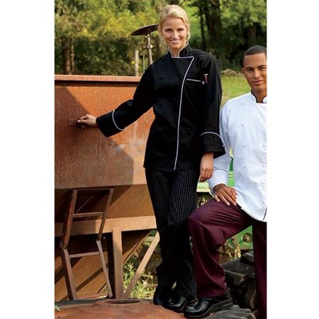 4003-3303 Yarn Dyed Baggy Chef Pant in Black and White Pinstripe - Medium