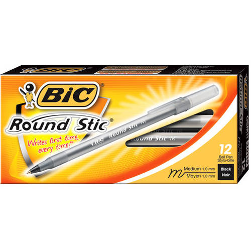 BIC Round Stic Ball Pen, Medium, Black, 1-Dozen