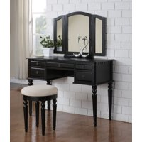 Bobkona St. Croix 3 Fold Mirror Vanity Table with Stool Set, Multiple Colors