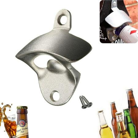 Stainless Steel Iron Wall Mount Bar Beer Coke Bottle Cap Opener Kitchen Garage