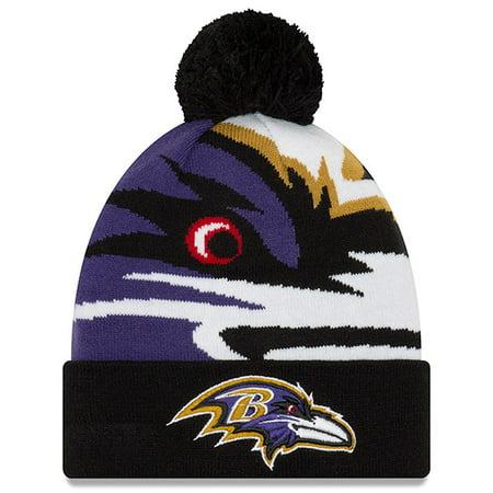 Baltimore Ravens New Era Youth Logo Whiz 3 Cuffed Knit Hat - Black - OSFA Baltimore Ravens Womens Hats
