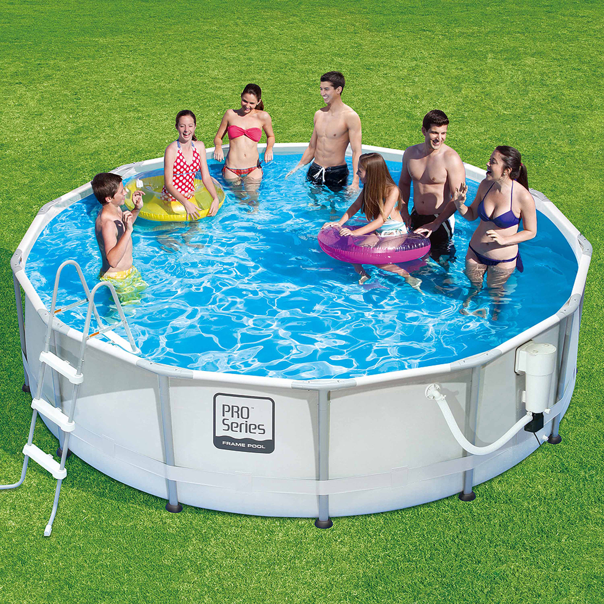 summer waves proseries 14 x 42 premium frame above ground swimming pool with deluxe accessory set walmartcom