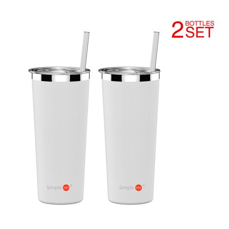 Holiday Season | BPA Free 2 Pack SimpleHH Vacuum Insulated Coffee Cup | Double Walled Stainless Steel Tumbler with straw | Travel Flask Mug | No Sweating, Keeps Hot & Cold| 22oz(650ml)