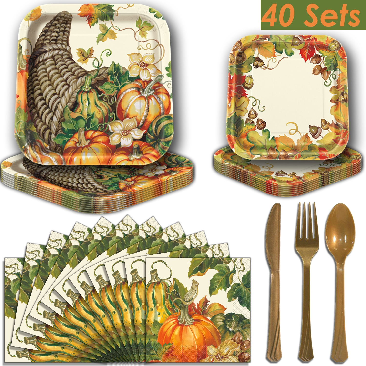 Fall Harvest Square Party Supplies for 40 - Dinner Plates, Dessert Plates, Luncheon Napkins, Gold Plastic Cutlery (Premier Strength). Thanksgiving and Autumn Theme Dinnerware