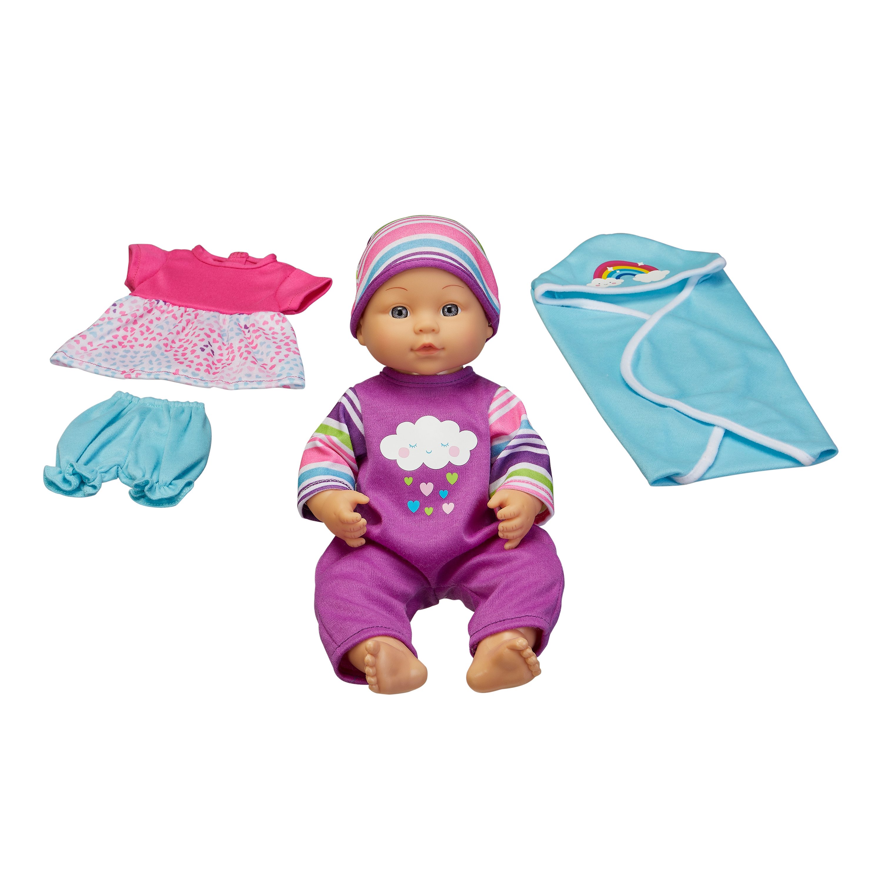 "My Sweet Love 12.5"" Baby Doll and Outfits Play Set, Rainbow, 6 Pieces"