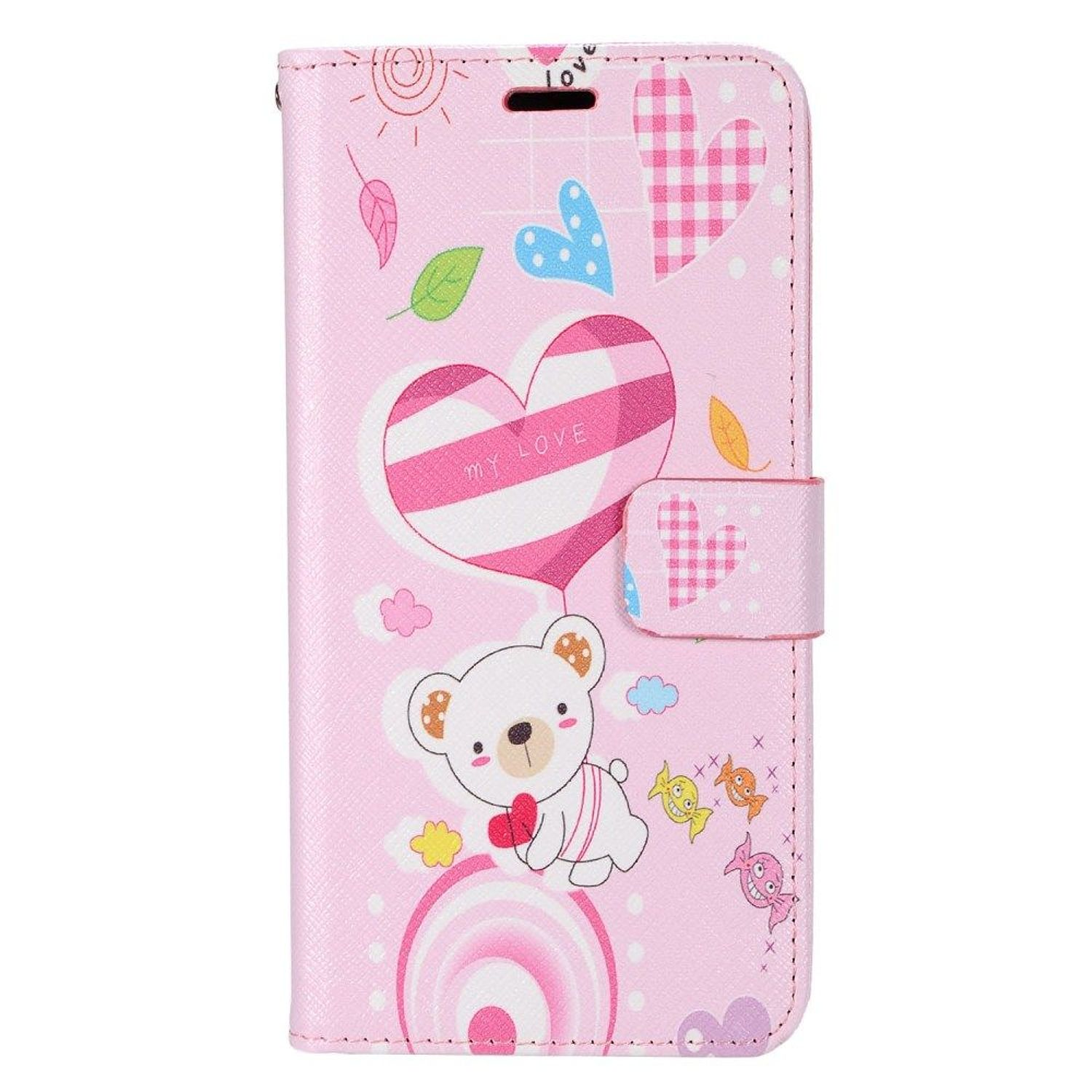 Insten Bear Stand Book-Style Leather [Card Holder Slot] Wallet Pouch Case Cover For Samsung Galaxy S8, Pink/White