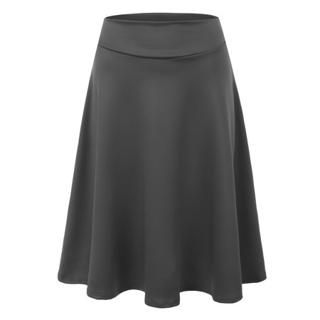78f9cfffb Doublju Women's Basic Versatile Stretchy Flared Skater Skirt CHARCOAL XL