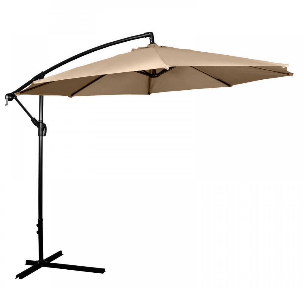 Attractive 10u0027 Ft Hanging Umbrella Patio Sun Shade Offset Outdoor Market W/ Cross Base  Tan
