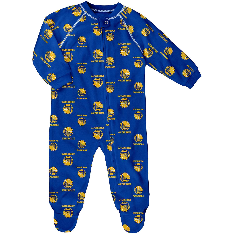 Newborn and Infant Royal Golden State Warriors All-Over Print Raglan Full-Zip Sleeper